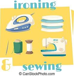 Hierro y coso las tareas domésticas icono de dibujos animados