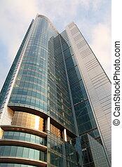highrise, edificio, vidrio, reflexión, rascacielos