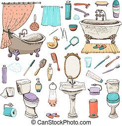 higiene, conjunto, personal, cuarto de baño, iconos