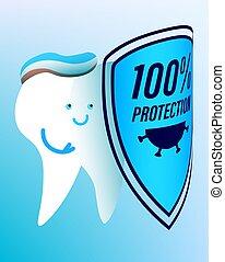 higiene, viruses., alegre, protector, protege, prevención, diseases., diente blanco, plano de fondo, aislado, contra, vector, dental