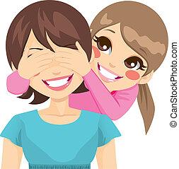 Hija cubriendo ojos de madre