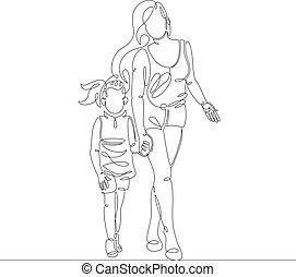 hija, pequeño, caminata, mujer joven, peatón