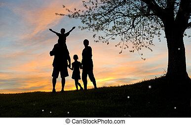 hija, sunsett, naturaleza, familia , hijo, padre, madre, feliz