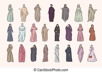 hijab, musulmán, árabe, moda, islam, mujer