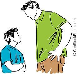 hijo, padre, ilustración