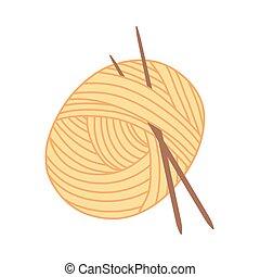 hilo, agujas, pelota amarilla, tejido de punto