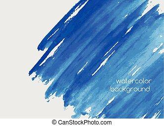 Hilo horizontal pintado a mano acuarela con manchas de pintura, garabatos, manchas o manchas de color azul celeste. Hermoso fondo acuático. Ilustración de vectores de colores brillantes.