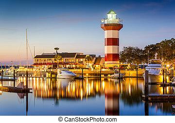 Hilton Head, Carolina del Sur, faro en Crepúsculo.