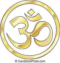 hindú, oro, om, vector