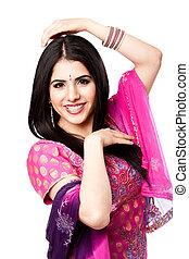 hindú, sonriente, indio, mujer feliz