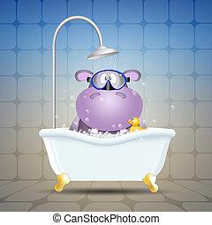 Hipopótamo con máscara de buceo en el baño