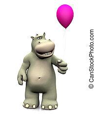 Hipopótamo de dibujos animados sosteniendo un globo.