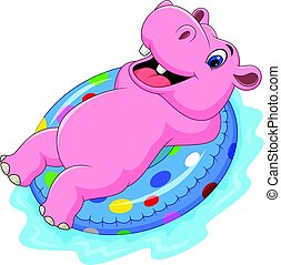 hipopótamo, inflable, caricatura, anillo