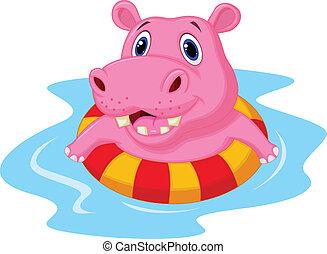 hipopótamo, inflat, flotar, caricatura