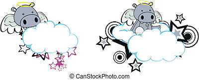 Hippo Angel caricatura de nubes copia espacio