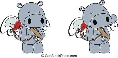 Hippo cupid caricatura