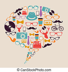 hipster, iconos, media., retro, social