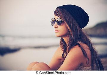 hipster, mujer, moda, joven