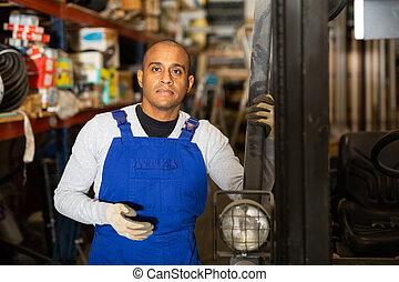 hispano, materiales, bienes, edificio, almacén, trabajador, estantes