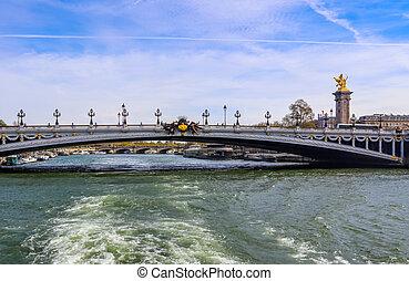histórico, puente, francia, alexandre, encima, iii), río, parís, jábega, (pont
