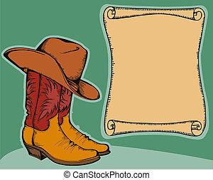 Historia occidental con botas de vaquero y sombrero. Ilustración del color del vector