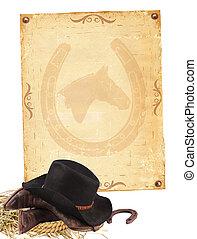 Historia occidental con ropa de vaquero y papel viejo aislado