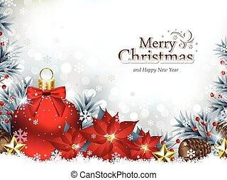 Historial de Navidad con adornos navideños y flores de poinsettia
