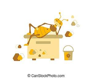 hive., abeja, zángano, illustration.