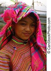 hmong, retrato, florecido, niña