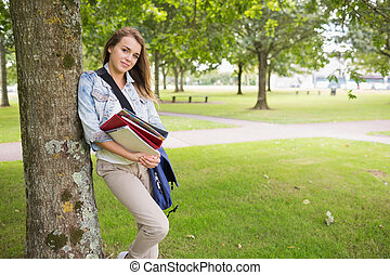 ho, árbol, propensión, estudiante, alegre