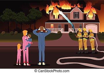 hogar, abrasador, poniendo, bomberos, fuegos, afuera
