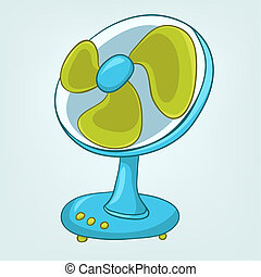 hogar, appliences, ventilador, caricaturas