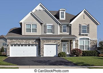 hogar, coche, piedra, tres, garaje