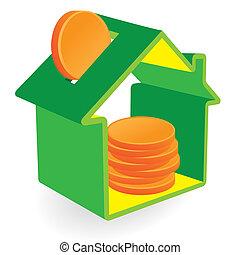 hogar, coins, verde, hucha