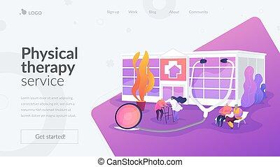 hogar, concepto, página, enfermería, aterrizaje