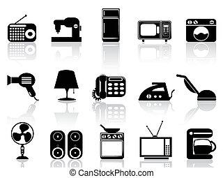 hogar, conjunto, aparatos, icono