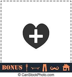 hogar, cruz, icono, plano, salud