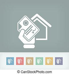 hogar, documento, icono