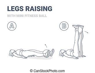 hogar, illustration., mini, pierna, condición física, entrenamiento, niña, aumento, dirección, bola del ejercicio