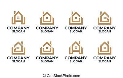 hogar, inicial, casa, monogram, carta, diseño, conjunto, logotipo, edificio, plantilla