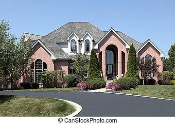 hogar, ladrillo, cedro, lujo, techo
