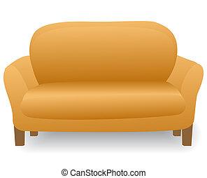 hogar, moderno, cómodo, sofá