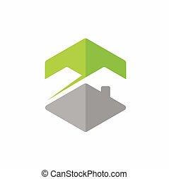 hogar, montaña, vector, logotipo