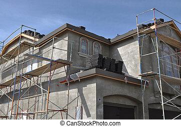 hogar, nuevo, construcción, estuco, debajo