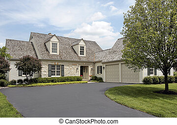 hogar, piedra, cedro, techo