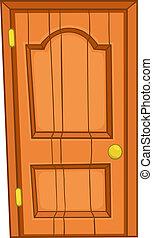 hogar, puerta, caricatura