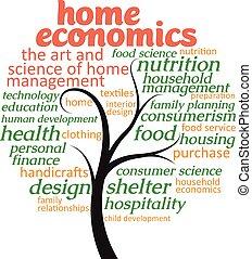 hogar, sobre, economía, árbol