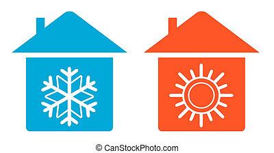 hogar, tibio, conjunto, frío, icono