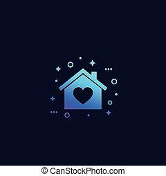 hogar, vector, corazón