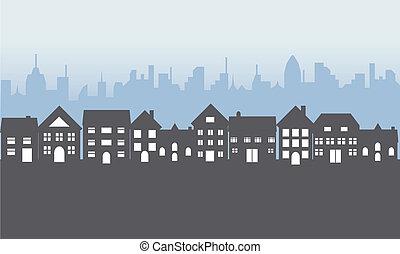 hogares, suburbano, noche